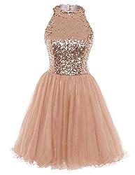 Short Sequin Open Back A-line Dress