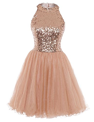 Home Homecoming Dresses Homecoming Dress Cocktail Dresses Short Sequin  Halter Open Back Evening Party Dress A line Rose Gold US4.    5ff99c834