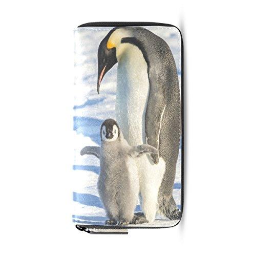 Zipper Clutch Leather Leather Blue5 ALAZA Purse Handbag Long pu Passport Wallet Penguins IqFwB8