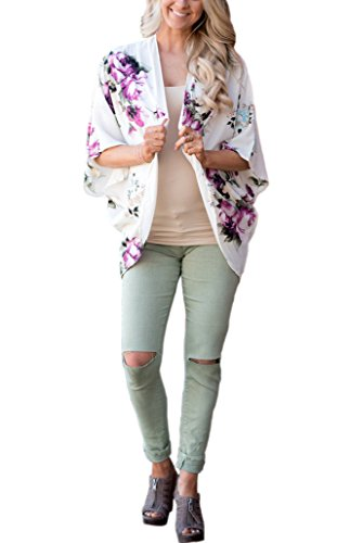 Vansha Womens Summer Open Front Chiffon Floral Cardigan Short Sleeve Beach Cover UP White ()