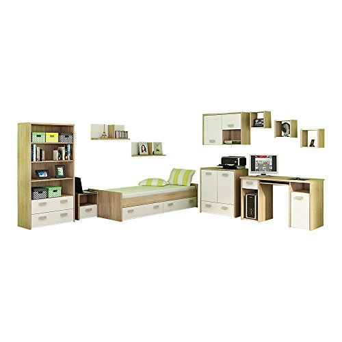 11 Pc Kids Bedroom Furniture Set, Twin Platform Storage Bed, Desk, Bookcase, Chest, Nightstand, 6 Shelves, White by MEBLE FURNITURE & RUGS