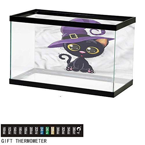 bybyhome Fish Tank Backdrop Cute,Halloween Theme Witch Kitten,Aquarium Background,24