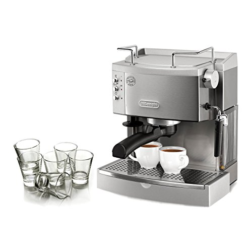 DeLonghi Stainless Steel Pump Espresso Maker with Free Set of 6 Italian Espresso Shot Glasses