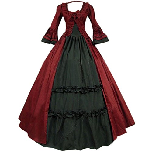 Cheap Victorian Dress (Partiss Women Vintage Floor-length Gothic Victorian BallGown Dress,M,As Picture)
