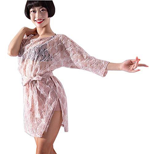 Dress Ballroom Waltz Pink Dress Dress CHAGME Latin Transparent Skirt Lace wCPqwRf
