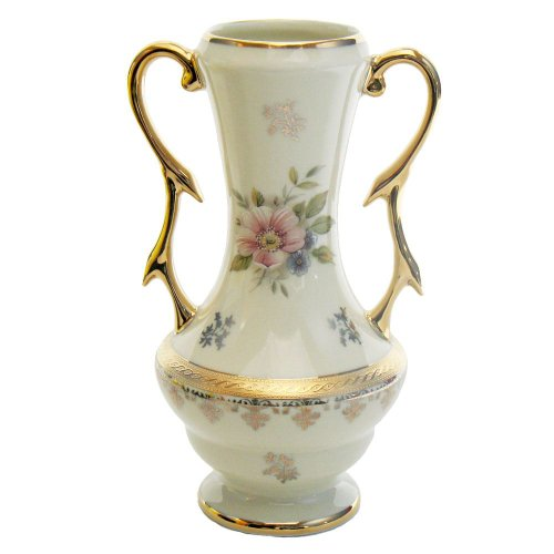 Limoges Porcelain Flower Vase With Handle, Ivory With Pink Rose - 7 Inch Ivory Porcelain Flower