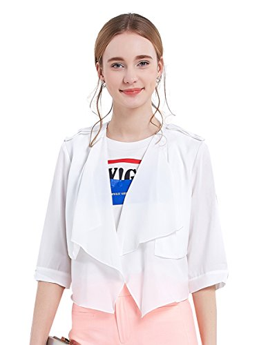 Hope Show Women's Jacket Half Sleeve Turn Down Collar Open Front Solid Thin Short Outwear (L, White) (Sleeve Jacket Rolled)