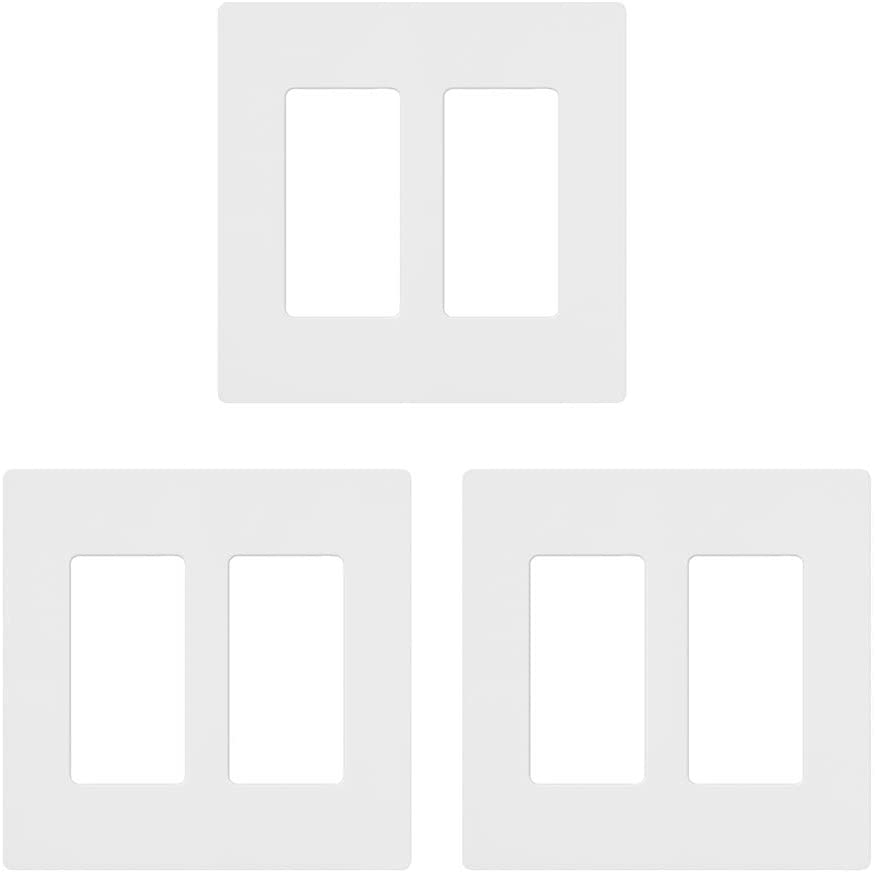 Lutron CW-2-WH-3 White Claro 2 Gang Decorator Wallplate (3 Pack) | CW-2-WH