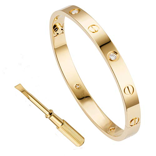 QUEEN JULIA Gold Bracelets for Women Couples Bracelets Titanium Steel Love Bracelet Pulseras de Mujer Valentines Wedding (GoldCz6.3)