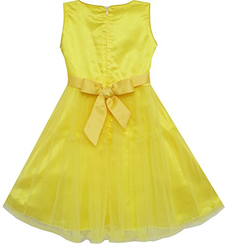 Dress Sequins Tulle Wedding Shinning Beige Yellow Girls Layers Pageant Kids Sv6wqdTEx