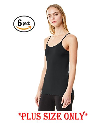 MoDDeals Woman's Plus Size Seamless Camisole Tank Top Spaghetti Strap Layering Value Pack (12 Pack) (1X, Black - Size Plus Camisole