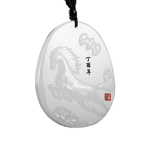 - clin-yy Natural Afghanistan White Jade A Jade Chinese Zodiac Amulet Adjustable Horse Pendant Necklace