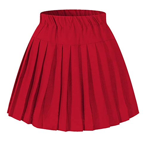 (Girl`s Plaid navy clothing Elasticated Pleated Skirt(Medium, Red))