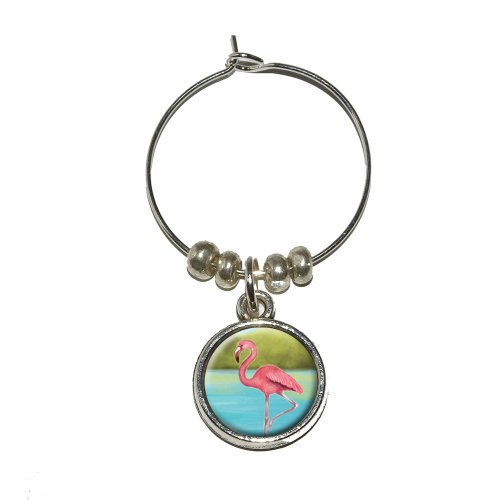 Flamingo Wine Glass Charm Drink Stem Marker (Flamingo Goblet Set)