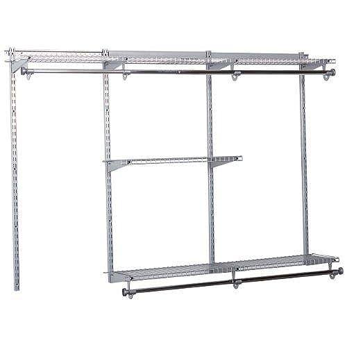 Rubbermaid Configurations Closet Kits, 3 6 Ft, Titanium (FG3H1102TITNM)