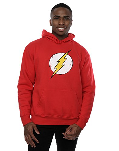 DC Comics Men's Flash Distressed Logo Hoodie Large Red -