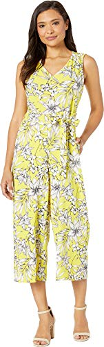 eci Women's Sleeveless Floral Printed V-Neck Wide-Legged Jumpsuit with Self Tie Yellow/White Large