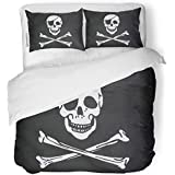SanChic Duvet Cover Set Jolly Pirate Flag Closeup Roger Skull Patch Eye Decorative Bedding Set with Pillow Sham Twin Size