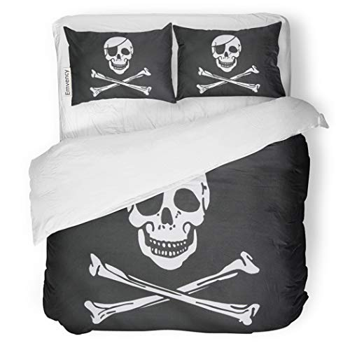 SanChic Duvet Cover Set Jolly Pirate Flag Closeup Roger Skull Patch Eye Decorative Bedding Set with 2 Pillow Shams King Size ()