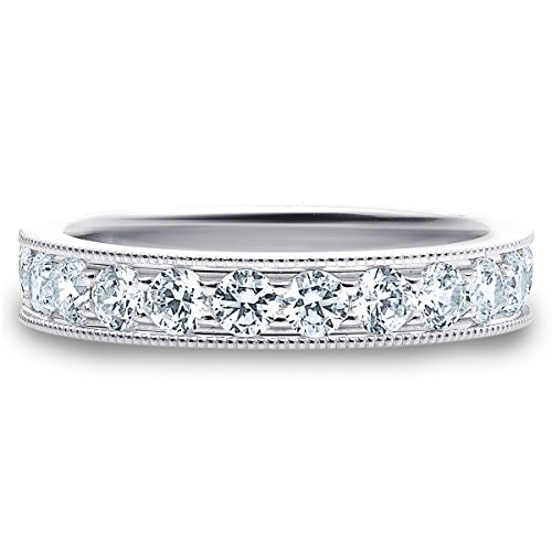 18K White Gold Diamond Milgrain Edge Prong Set Ring (1.0 cttw, F G Color, VVS1 VVS2 Clarity)