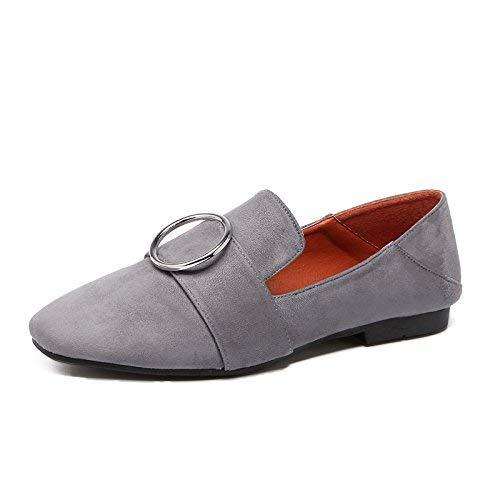 Eeayyygch Court Schuhe Runde Wildleder Einzelne Schuhe weibliche flach mit tiefen Mund Füße Flache Schuhe Damenschuhe Casual einfach 35 grau (Farbe   - Größe   -)