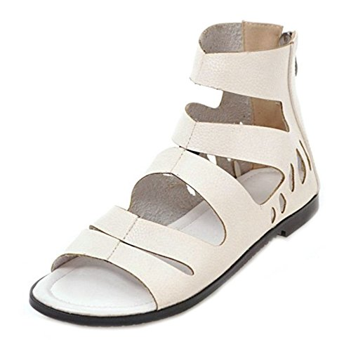 SJJH for Beige Sandals Large with Sandals Women Flat Roman Women Mini Fashion wHrSqwB