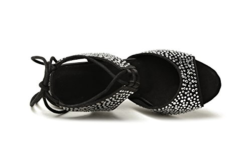 Black Dancing Shoes up Lace 8 Satin 5cm Heel Minishion Evening Crystals Latin GL251 Women's Sandals wf81qnP0