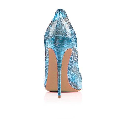 Ferm¨¦ Talon Bout Stripe Synth¨¦Tique MMGZ Neige Bleu Femmes Escarpins Aiguille Pointu Cuir Impression xqwwvYA8