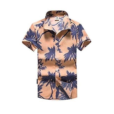 LFNANYI Moda de Verano para Hombre de Manga Corta, Camisa Hawaiana ...