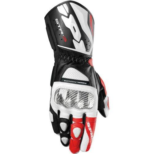 Spidi STR-3 Men's Leather Sports Bike Racing Motorcycle Gloves - Black/Red / 3X-Large