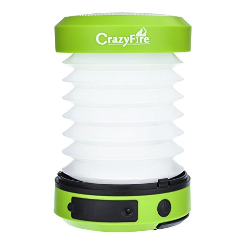 CrazyFire LED Camping Lantern Powered by Solar Panel and USB Charging Collapsible Flashlight Torch Rainproof for Outdoor Camping Hiking Tent Garden Emergency Charger for Cell Phone by CrazyFire