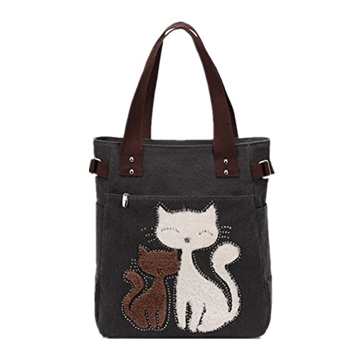 - YZSKY Women Canvas Handbag Cartoon Cat Big Tote Bag (Black)