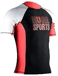 Hugesports Men's Splice UV Sun Protection UPF50+ Crew Neck Skins Rash Guard