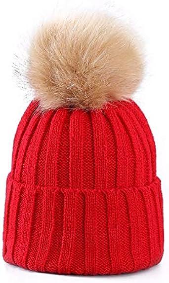 WHITE Women Ladies Winter Pom Pom Hat Cosy Beanie Warm Winter Cap Pom Pom Bobble Hat