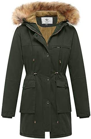 WenVen Women's Fleece Cotton Military Parka Fur Hooded Coat Jacket