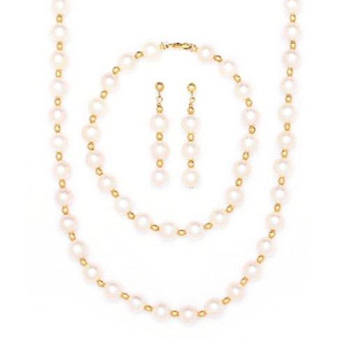 14k Yellow Gold Bead and Freshwater Cultured Pearl Necklace by Beauniq