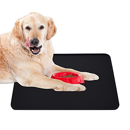 Guardians Dog Food Mat, Silicone Pet Feeding Mats, Non Slip Waterproof Cat Bowl Trays Food Container Placemat for Small Animals (18.5''x11.8'', Black) by Guardians (Image #2)