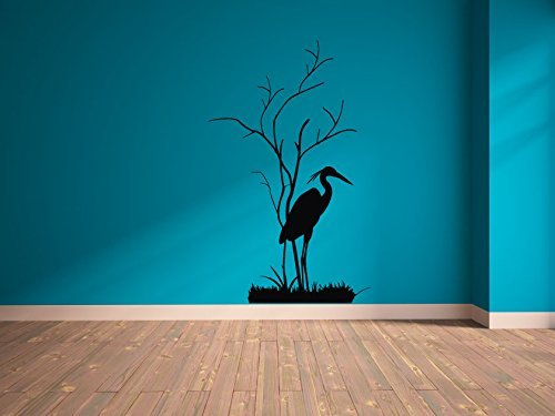 Silhouette Grass - Beach Heron Silhouette with Tree and Grass Vinyl Wall Decal Sticker Graphic
