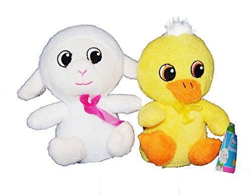 Soft Terry Cloth Spring Animals (White Lamb and Yellow Duck) (Cloth Terry Toys)