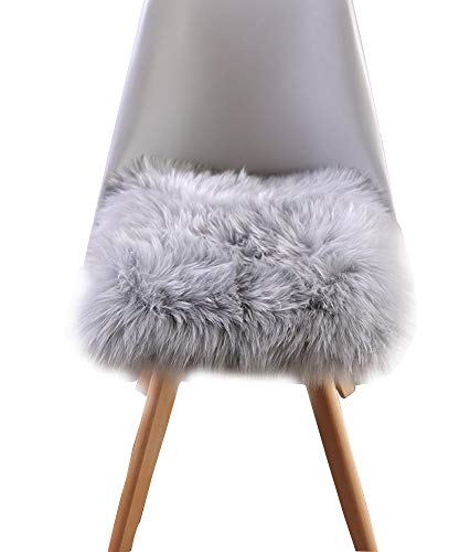 "Sigmat Faux Sheepskin Chair Pad Soft Long Wool Stool Cover CarSeat Cover with Straps 18""x18"" Light Grey"