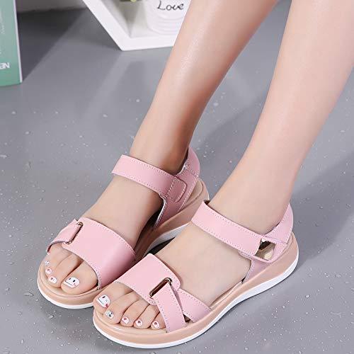 Soft EU de Rosado Zapatos tamaño Peep Color Toe de EU Loop Mujeres Verano 4ea412