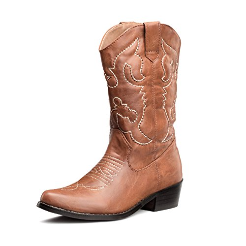 SheSole Womens Embroidered Western Cowboy Cowgirl Mid-Calf Wedding Boots Tan US 9