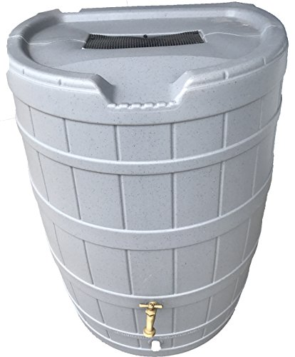 Flat Back Rain Barrel- 50 Gallon Gray