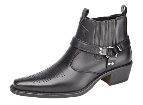 Men's US BRASS EASTWOOD Ankle Harness/Gusset Cuban Heel Cowboy Boots Black iSgKuY64r0