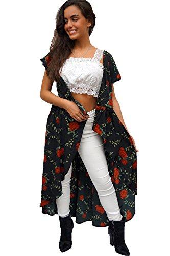 Joy & Ash - Women's Black Rose Print Kimono Cover Up, X-Large ()