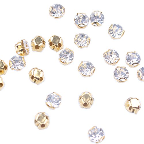 ZIJING 100pcs Gold Setting Clear Czech Glass Rhinestone Rose Montees Beads with 4 Holes for Sew On ()