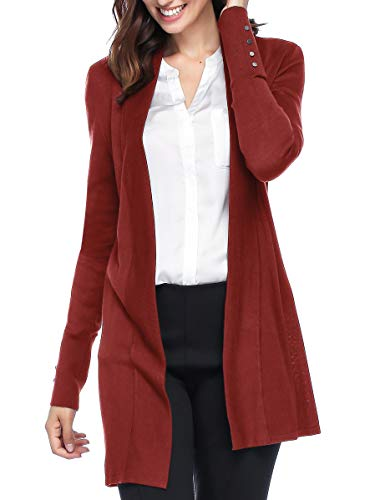 Spicy Sandia Open Front Knit Cardigans for Women Lightweight Cover-up Long Sleeve Cardigan Sweaters, Red, Large