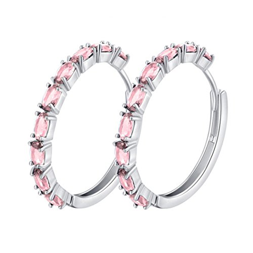 Pink Hoop Earrings (SELOVO Pink Cubic Zirconia Big Huggie Hoop Earrings Cushion Cut Silver Tone)