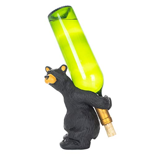 Julio Bear Natural Black 8 x 7 Hand-Cast Resin Stone Wine Bottle Holder