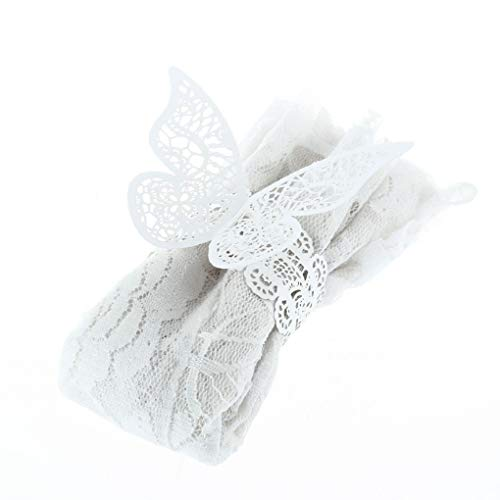 (GBTRICON 12pcs 3D Butterfly Paper Napkin Rings for Weddings Party Serviette Banquet Table Decoration (White))